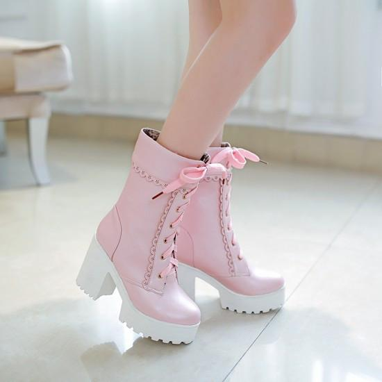 Harajuku Japanese Lace High Heel Boots Sd01995 Syndrome