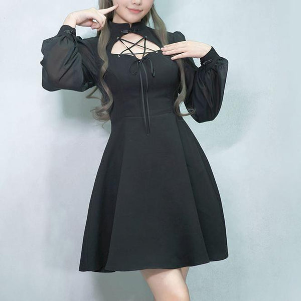 Black See through lantern Sleeve Pentagram Open Chest Dress SD00346 - SYNDROME - Cute Kawaii Harajuku Street Fashion Store