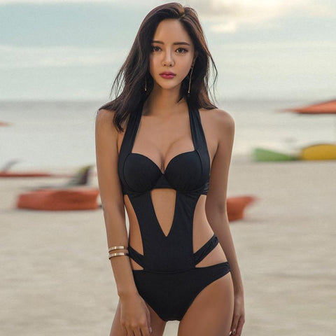 Korean Summer Sexy Black 1 Piece Swimsuit (swim suit) SD02413