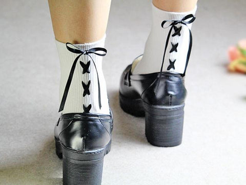 Cute Cross Bow Tie Short Socks SD01958