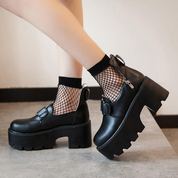 Black Double Straps High Platform Shoes SD02424 - SYNDROME - Cute Kawaii Harajuku Street Fashion Store