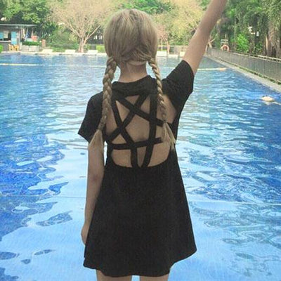 Back Side Pentagram Cut Out Dress SD00050 - SYNDROME - Cute Kawaii Harajuku Street Fashion Store