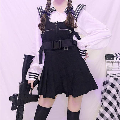 Navy School Shirt/Plaid Strap Dress SD00296 - SYNDROME - Cute Kawaii Harajuku Street Fashion Store