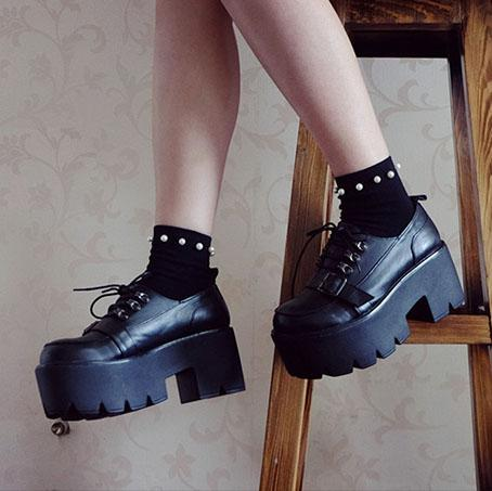 Punk Strap Belt Heavy Platform Shoes SD01715 - SYNDROME - Cute Kawaii Harajuku Street Fashion Store