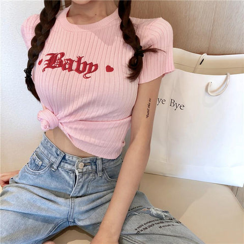13c9404ef852f Heart Baby Embroidered T-shirt SD02386 - SYNDROME - Cute Kawaii Harajuku  Street Fashion Store