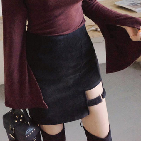 Strap Buckle High Waist Skirt SD02183 - SYNDROME - Cute Kawaii Harajuku Street Fashion Store