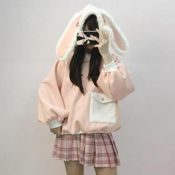 Pink Fluffy Bunny Ears Hoodie Sweater SD00235