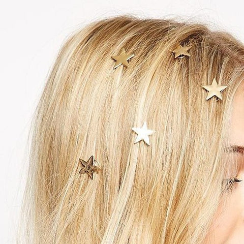 5 Golden Star Hair Clips SD00466
