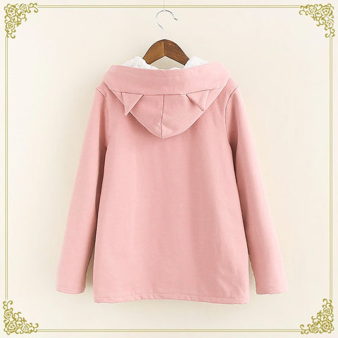 Warm Kawaii Pink/Black/Navy Embroidered Cat Hooded Ears Coat [Winter] SD01653