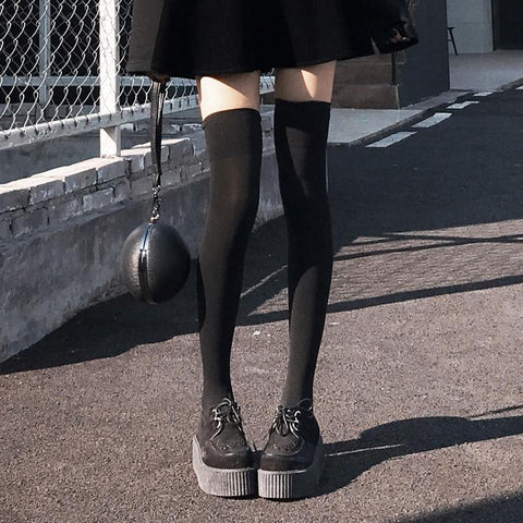 Black Velvet High Knee Tights SD01068 - SYNDROME - Cute Kawaii Harajuku Street Fashion Store