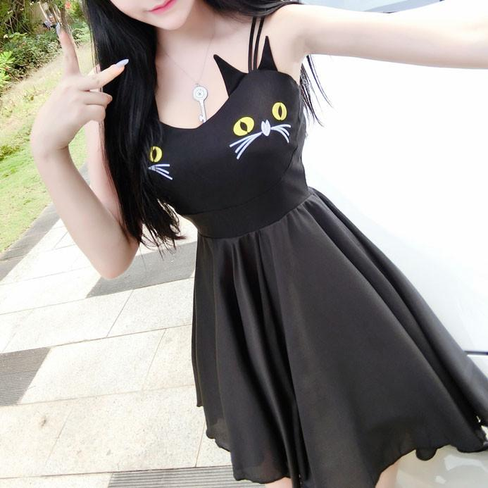 Japanese Harajuku cute cat chest dress SD02485