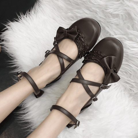Sweet Lolita Bow Cross Strap Shoes SD00367