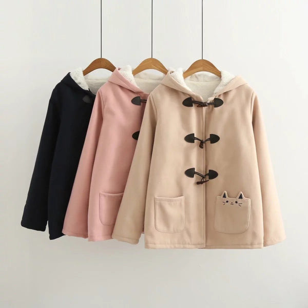 Warm Kawaii Pink/Black/Navy Embroidered Cat Hooded Ear Jacket SD01653