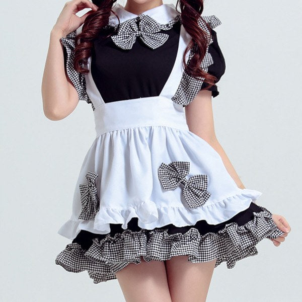 Black and White Plaid Ruffle Bow Maid Dress SD00418 - SYNDROME - Cute Kawaii Harajuku Street Fashion Store
