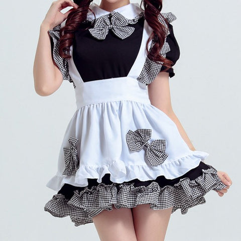 Black and White Plaid Ruffle Bow Maid Dress SD00418