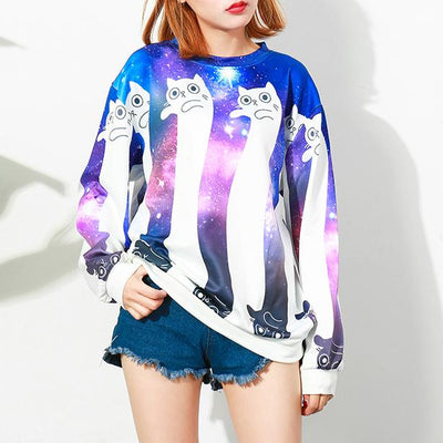 Harajuku Galaxy Cat Sweater SD00595 - SYNDROME - Cute Kawaii Harajuku Street Fashion Store