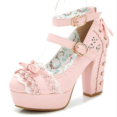 Japanese Lolita Sweet Bow Lace Strap corset High-heel Shoes Ver.1 SD00108 - SYNDROME - Cute Kawaii Harajuku Street Fashion Store