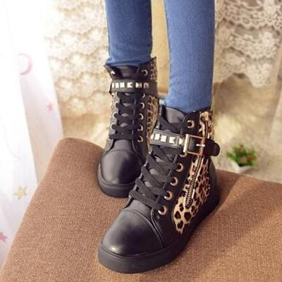 Hot Black/White Leopard Straps Studs Sneakers Canvas Shoes SD02313