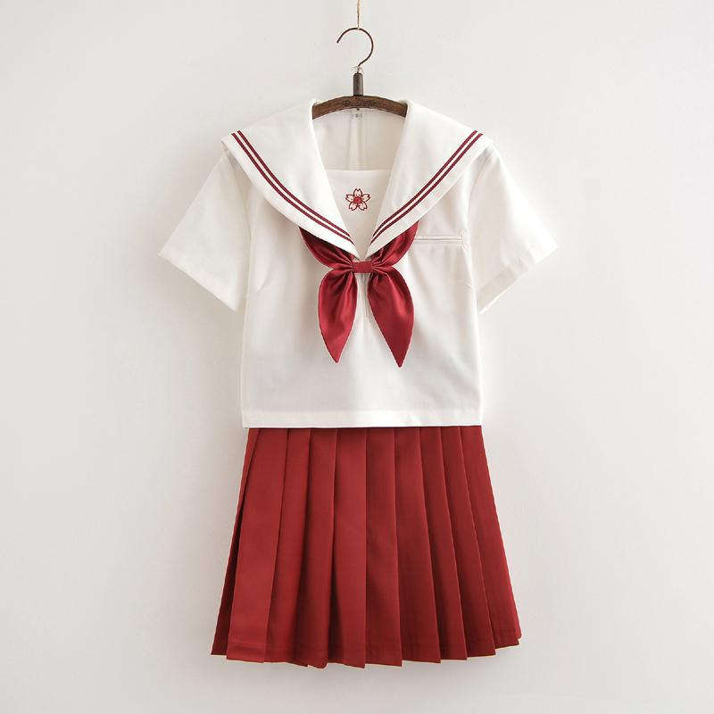 Japanese red sailor flower embroidered school uniform t-shirt/skirt SD00840