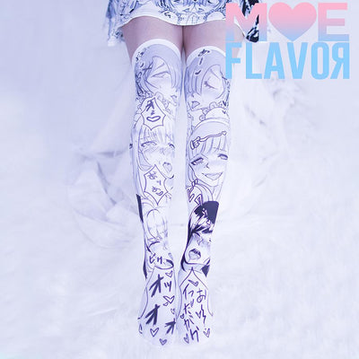 SALE Ahegao Darling in the Franxx  Re:Zero Fate Stay Night Knee Thigh High Socks MF00222 - SYNDROME - Cute Kawaii Harajuku Street Fashion Store