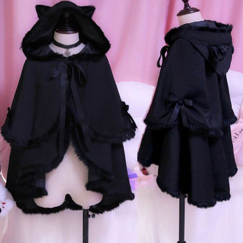 Kawaii Dark Night Winter Warm Fluffy Black Bat sleeve Cape Coat SD01743