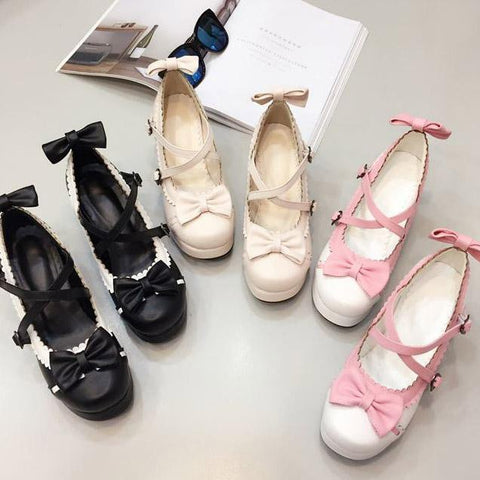 Japanese lolita sweet bow knot high heel shoes SD00247 - SYNDROME - Cute Kawaii Harajuku Street Fashion Store