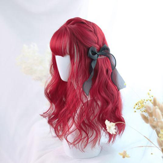 Bordeaux Red Curly Long Wig SD00212 - SYNDROME - Cute Kawaii Harajuku Street Fashion Store