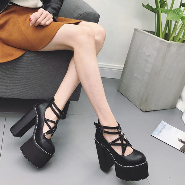 Pentagram Double Strap High Heels Shoes SD00144