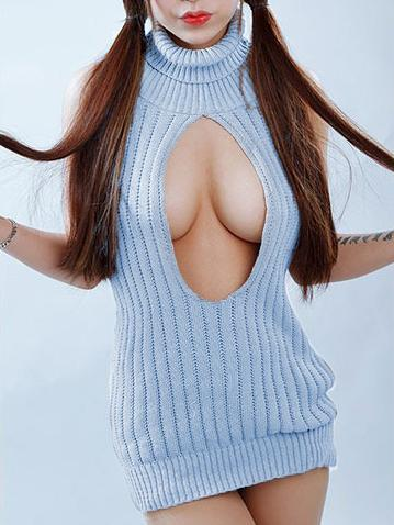 Japanese Virgin Killer Hollow Chest Neck Turtle Sweater SD01622