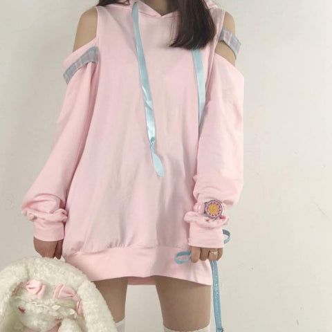 Pink Open Shoulder Loose Sweater SD00263