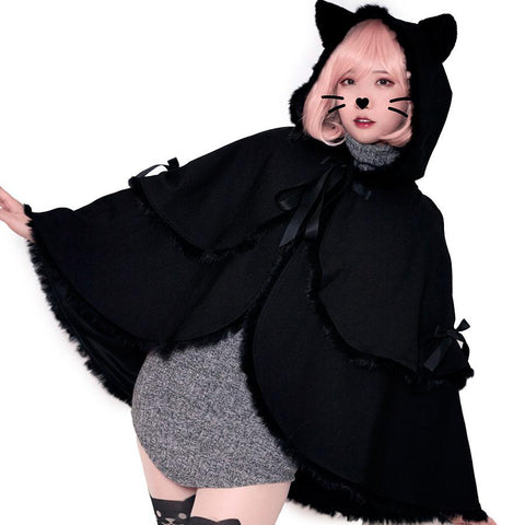 Black Cat Hoodie Bat Sleeve Cloak Coat SD01743 - SYNDROME - Cute Kawaii Harajuku Street Fashion Store