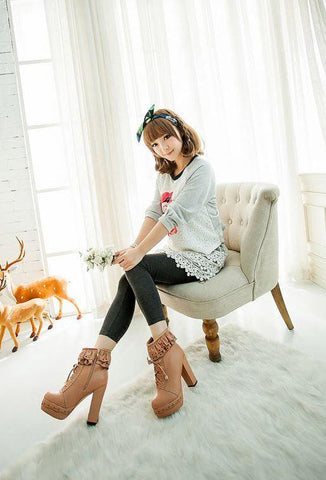 Kawaii Lolita Lace High-Heeled Boots SD00132