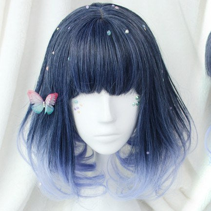 Short Dark Navy to Light Blue Gradient Cosplay Wig SD00486
