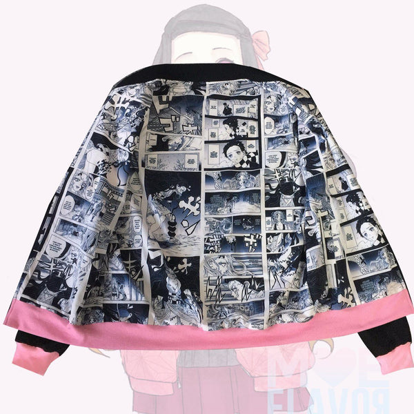 Pre-order Nezuko Manga Bomber Jacket MF02050 - SYNDROME - Cute Kawaii Harajuku Street Fashion Store