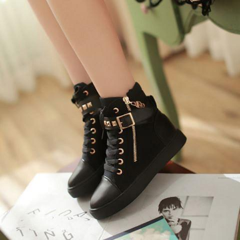 Hot Black Straps Studs Sneakers Canvas Shoes SD02312