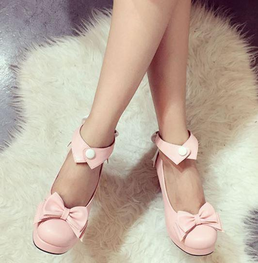 Bow Collar High-Heel Shoes SD00245 - SYNDROME - Cute Kawaii Harajuku Street Fashion Store