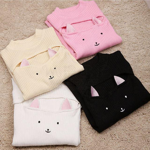Kawaii Hollow Chest Kitty Cat Keyhole Sweater SD00131