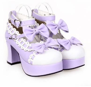 Dolly Japanese Harajuku Lolita Bow Lace High-Heeled Shoes SD00103