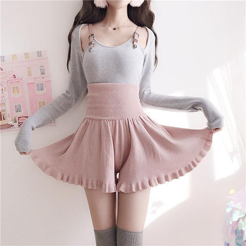 Straps Slim Shirt High Waist Ruffle Shorts SD00720
