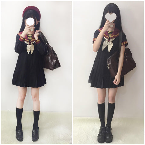 Japanese Sweet Bow Tie 1 Piece School Uniform Dress SD01280 - SYNDROME - Cute Kawaii Harajuku Street Fashion Store