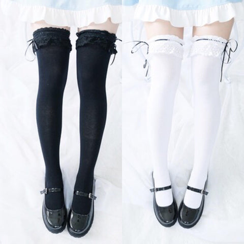 Lace Ribbon Thigh High Tight Socks SD00287