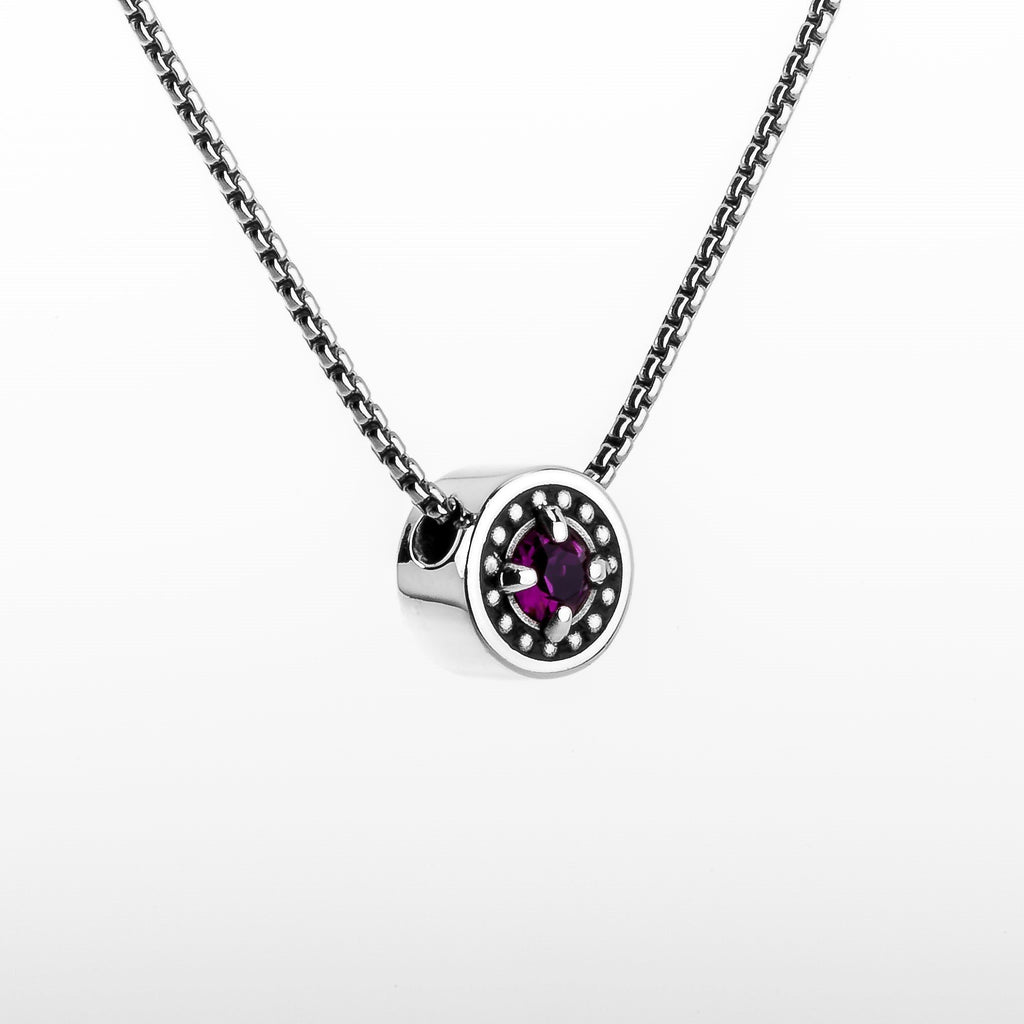 "February Amethyst Birthstone Necklace - The Generations ""Petite"""