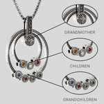 Hebrew Family Grandmother Birthstone Necklace | Jewish Necklace | Judaica | Personalized Gift