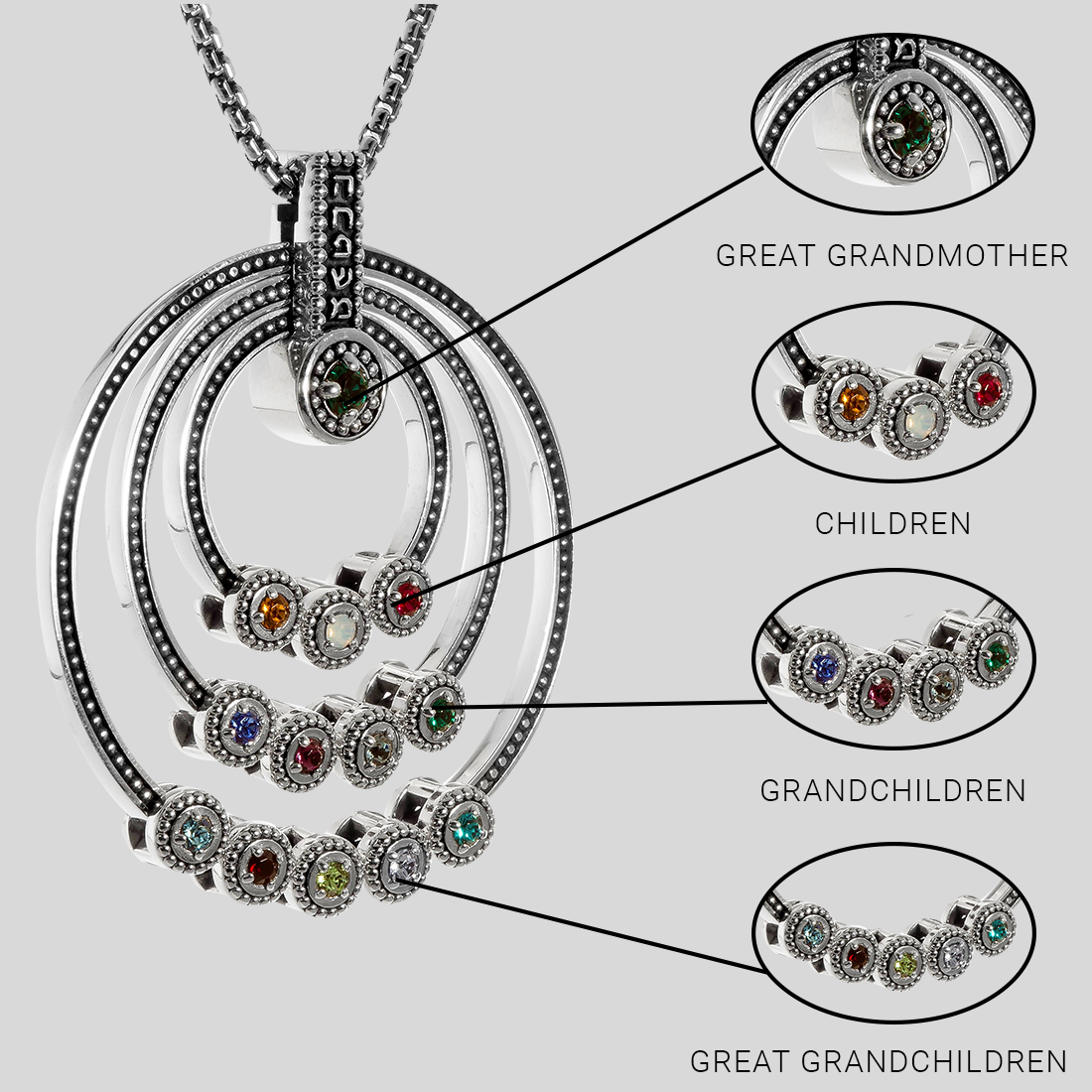 Hebrew Family Great Grandmother Birthstone Necklace | Jewish Necklace | Judaica | Personalized Gift
