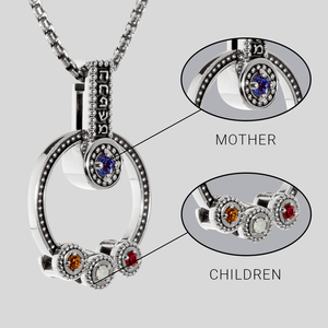 Hebrew Family Birthstone Mother Necklace | Jewish Necklace | Judaica | Personalized Gift