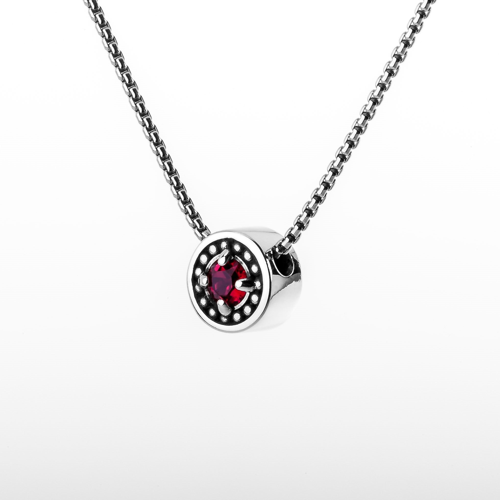 "July Ruby Birthstone Necklace - The Generations ""Petite"""