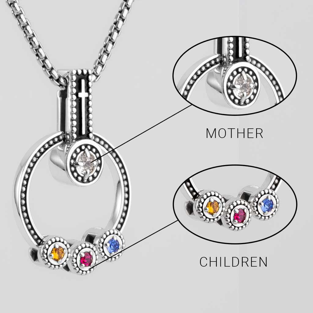 "MOTHERS ""FAITH"" BIRTHSTONE NECKLACE"
