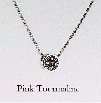 "October Opal/Pink Tourmaline Birthstone Necklace - The Generations ""Petite"""