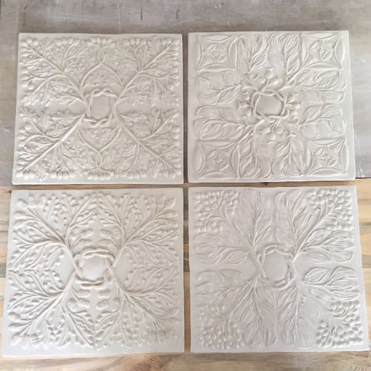 Architectural Bas Relief Set of Four Wall Art Plaques. - Maapstudio