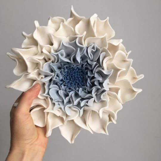 Blue Dahlia Ceramic Wall Art , Ceramic Wall Sculpture - Maapstudio
